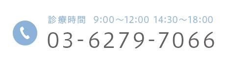 診療時間 9:00~12:00 14:30~18:00 03-6279-7066